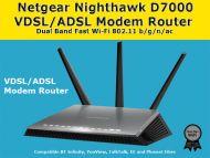 NETGEAR D7000-100UKS Nighthawk AC1900 Dual Band Wireless VDSL/ADSL Modem Router