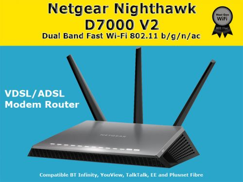NETGEAR D7000-200UKS Nighthawk AC1900 Dual Band Wireless VDSL/ADSL Modem Router